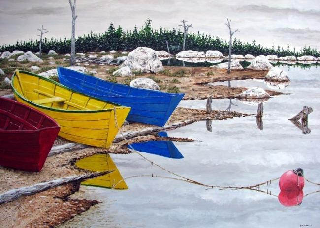 Colourful boats by the water. Acrylic by J.M.Inglis